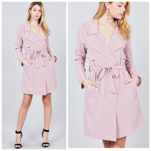 Blush Pink Belted Long Jacket Duster